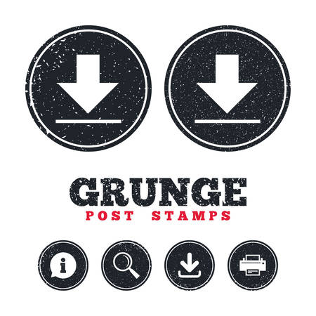Grunge post stamps. Download icon. Upload button. Load symbol. Information, download and printer signs. Aged texture web buttons. Vector