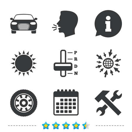 Transport icons. Car tachometer and automatic transmission symbols. Repair service tool with wheel sign. Information, go to web and calendar icons. Sun and loud speak symbol. Vector Illustration