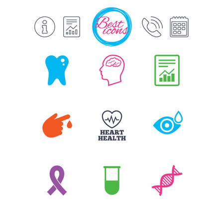 Information, report and calendar signs. Medicine, medical health and diagnosis icons. Blood test, dna and neurology signs. Tooth, report symbols. Classic simple flat web icons. Vector Reklamní fotografie - 78746710