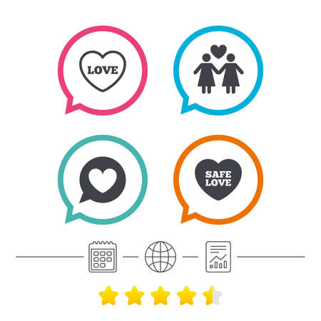 Lesbians couple sign. Speech bubble with heart icon. Female love female. Heart symbol. Calendar, internet globe and report linear icons. Star vote ranking. Vector