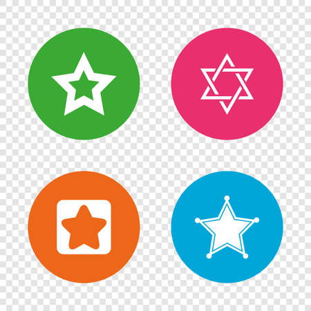 Star of David icons. Sheriff police sign. Symbol of Israel. Round buttons on transparent background. Vector