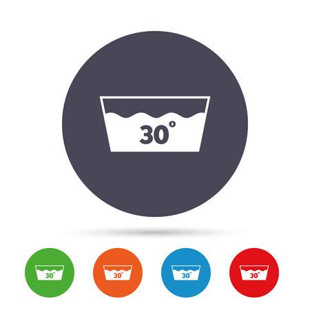 Symbol waschen Maschinenwaschbar bei 30 Grad. Runde bunte Knöpfe mit flachen Ikonen. Vektor