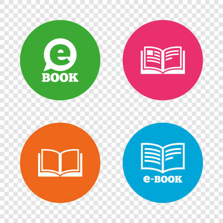Electronic book icons. E-Book symbols. Speech bubble sign. Round buttons on transparent background. Vector Illustration