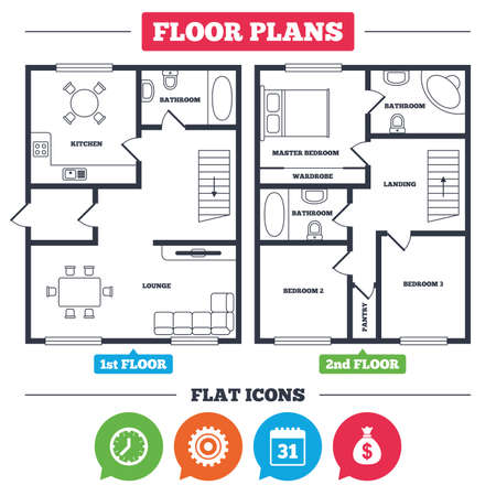 Architecture plan with furniture. House floor plan. Business icons. Calendar and mechanical clock signs. Dollar money bag and gear symbols. Kitchen, lounge and bathroom. Vector