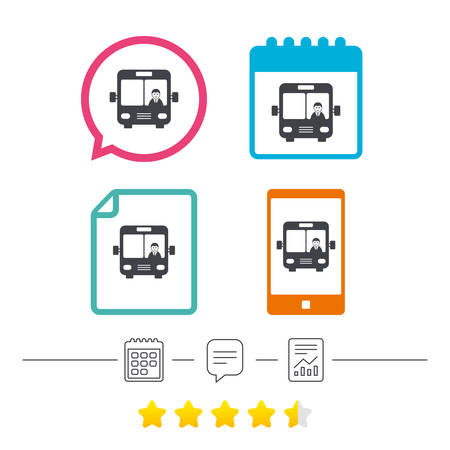 truck driver: Bus sign icon. Public transport with driver symbol. Calendar, chat speech bubble and report linear icons. Star vote ranking. Vector