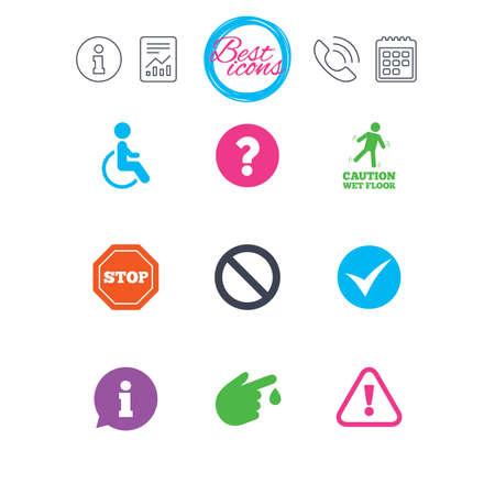 Señales de información, informes y calendario. Iconos de precaución de atención. Signo de interrogación y signos de información. Lesiones y símbolos de personas discapacitadas. Iconos de web plana simple clásico. Vector Foto de archivo - 78746837
