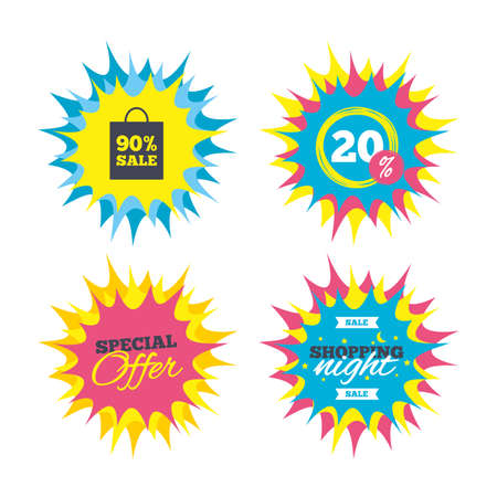 Shopping offers, special offer banners. 90% sale bag tag sign icon. Discount symbol. Special offer label. Discount star label. Vector Illustration