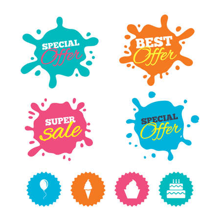 Best offer and sale splash banners. Birthday party icons. Cake with ice cream signs. Air balloon with rope symbol. Web shopping labels. Vector