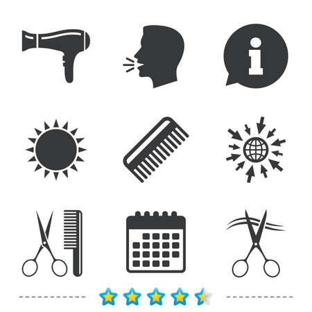 Hairdresser icons. Scissors cut hair symbol. Comb hair with hairdryer sign. Information, go to web and calendar icons. Sun and loud speak symbol. Vector Illustration
