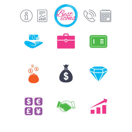 Information, report and calendar signs. Money, cash and finance icons. Handshake, safe and currency exchange signs. Chart, case and jewelry symbols. Classic simple flat web icons. Vector Illustration