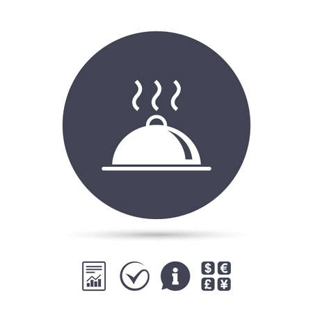 Food platter serving sign icon. Table setting in restaurant symbol. Hot warm meal. Report document, information and check tick icons. Currency exchange. Vector
