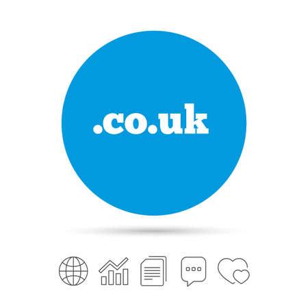 ドメイン CO.UK 記号アイコン。英国インターネットのサブドメインのシンボル。ファイルのコピー、音声バブルとグラフ web アイコンをチャットしま