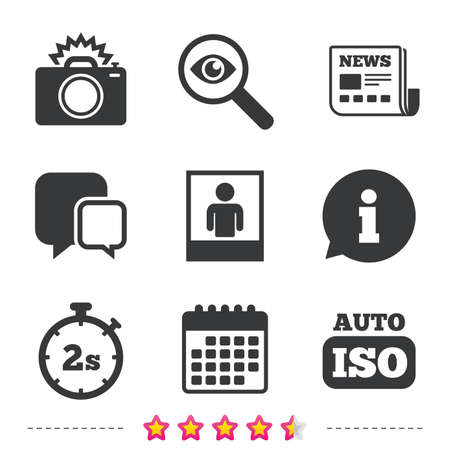 Photo camera icon. Flash light and Auto ISO symbols. Stopwatch timer 2 seconds sign. Human portrait photo frame. Newspaper, information and calendar icons. Investigate magnifier, chat symbol. Vector