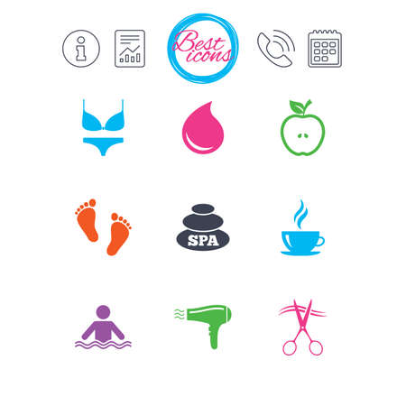 Information, report and calendar signs. Spa, hairdressing icons. Swimming pool sign. Lingerie, scissors and hairdryer symbols. Classic simple flat web icons. Vector Illustration