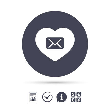 Love Mail icon. Envelope symbol. Message sign. Mail navigation button. Report document, information and check tick icons. Currency exchange. Vector