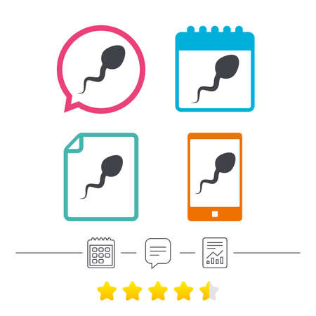 Sperm sign icon. Fertilization or insemination symbol. Calendar, chat speech bubble and report linear icons. Star vote ranking. Vector