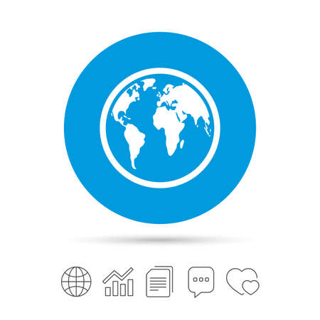 Globe sign icon. World map geography symbol. Copy files, chat speech bubble and chart web icons. Vector Illustration