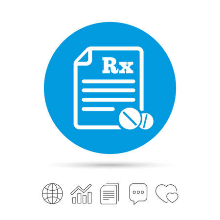 Medical prescription Rx sign icon. Pharmacy or medicine symbol. With round tablets. Copy files, chat speech bubble and chart web icons. Vector