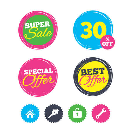 Super sale and best offer stickers. Home key icon. Wrench service tool symbol. Locker sign. Main page web navigation. Shopping labels. Vector Ilustrace
