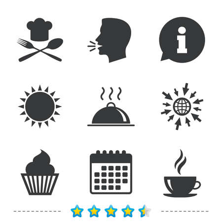Food and drink icons. Muffin cupcake symbol. Fork and spoon with Chef hat sign. Hot coffee cup. Food platter serving. Information, go to web and calendar icons. Sun and loud speak symbol. Vector