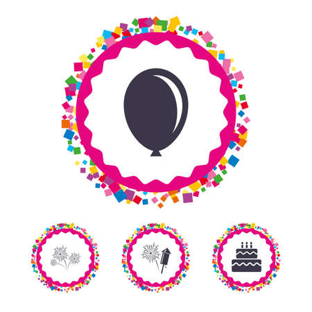 Web buttons with confetti pieces. Birthday party icons. Cake and gift box signs. Air balloon and fireworks symbol. Bright stylish design. Vector