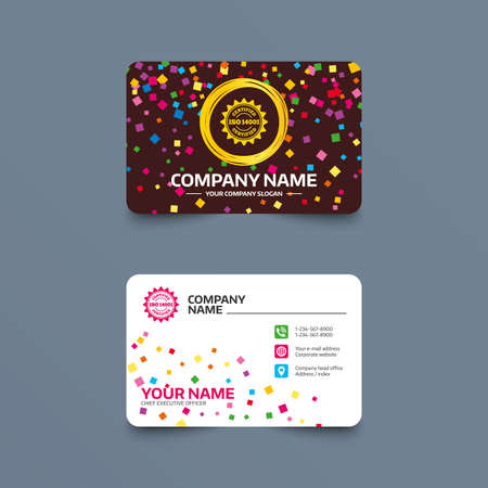 Business card template with confetti pieces. ISO 14001 certified sign icon. Certification star stamp. Phone, web and location icons. Visiting card  Vector