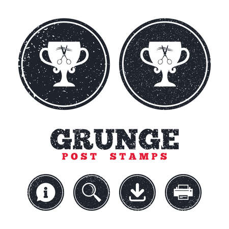 Grunge post stamps. Scissors cut hair sign icon. Hairdresser or barbershop symbol. Winner award cup. Information, download and printer signs. Aged texture web buttons. Vector