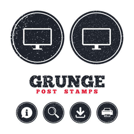 Grunge post stamps. Computer widescreen monitor sign icon. Information, download and printer signs. Aged texture web buttons. Vector Illustration
