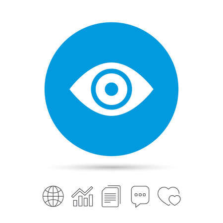 Eye sign icon. Publish content button. Visibility. Copy files, chat speech bubble and chart web icons. Vector Illustration