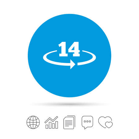Return of goods within 14 days sign icon. Warranty exchange symbol. Copy files, chat speech bubble and chart web icons. Vector 版權商用圖片 - 78747046