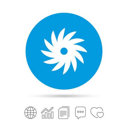 Zag circulaire wielpictogram teken. Snijmessymbool. Kopieer bestanden, praat tekstballonnen en grafiek web iconen. Vector