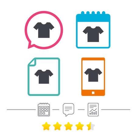T-Shirt-Zeichen-Symbol. Kleidungssymbol. Kalender, Chat-Sprechblase und lineare Symbole. Sterne-Abstimmungsrang Vektor Standard-Bild - 78747063