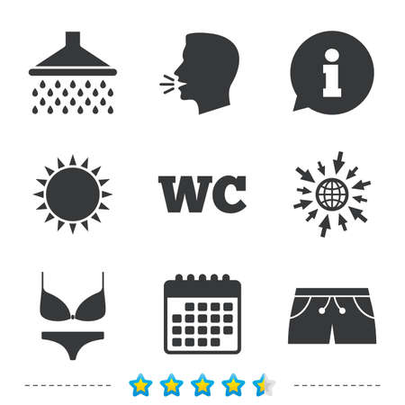 Swimming pool icons. Shower water drops and swimwear symbols. WC Toilet sign. Trunks and women underwear. Information, go to web and calendar icons. Sun and loud speak symbol. Vector