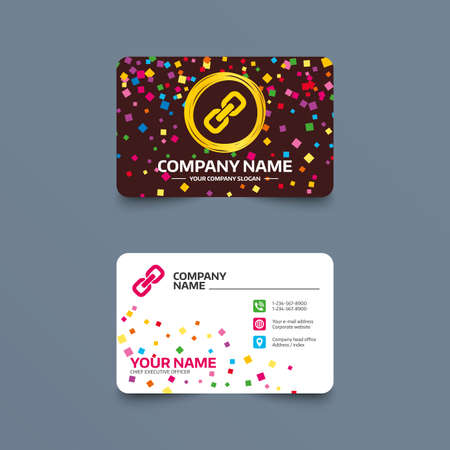 Business card template with confetti pieces. Link sign icon. Hyperlink chain symbol. Phone, web and location icons. Visiting card  Vector