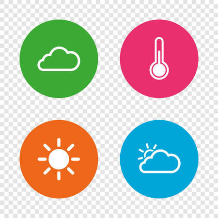 Weather icons. Cloud and sun signs. Thermometer temperature symbol. Round buttons on transparent background. Vector