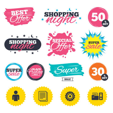 Sale shopping banners. Special offer splash. Accounting workflow icons. Human silhouette, cogwheel gear and documents folders signs symbols. Web badges and stickers. Best offer. Vector Иллюстрация