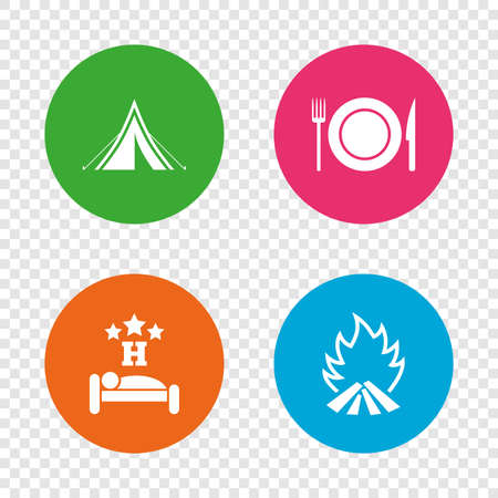 Food, sleep, camping tent and fire icons. Knife, fork and dish. Hotel or bed and breakfast. Road signs. Round buttons on transparent background. Vector