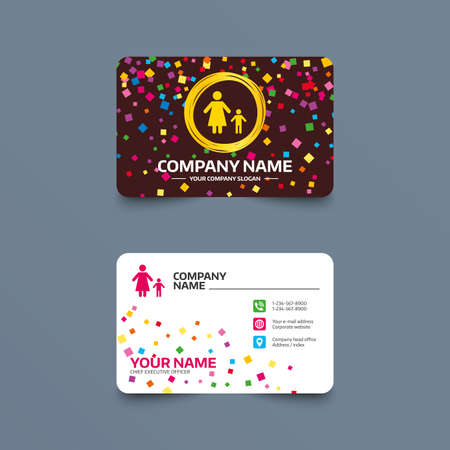 Business card template with confetti pieces. One-parent family with one child sign icon. Mother with son symbol. Phone, web and location icons. Visiting card  Vector