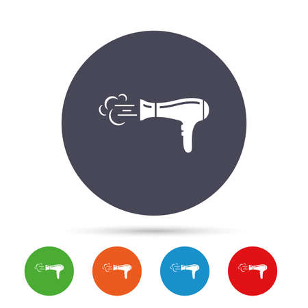 Hairdryer sign icon. Hair drying symbol. Blowing hot air. Turn on. Round colourful buttons with flat icons. Vector