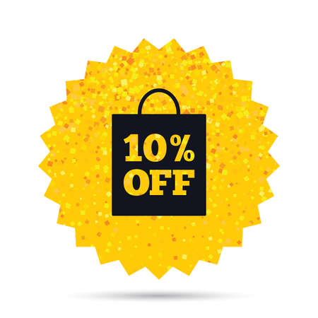 ゴールドラメ web ボタンです。10% 販売バッグ タグ記号のアイコン。シンボルを割引します。特別オファーのラベルです。豊富な魅力の星のデザイン