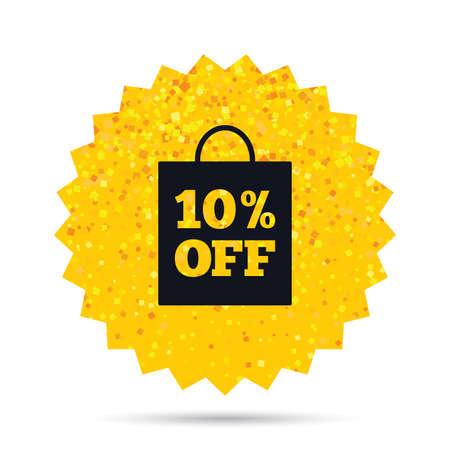 Gouden glitter web knop. 10% verkoop bag tag teken pictogram. Kortingsymbool. Speciale aanbieding label. Rijk ontwerp met glamourster. Vector Stock Illustratie