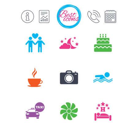 Informations-, Berichts- und Kalenderschilder. Hotel, Wohnungsservice-Ikonen. Schwimmbad. Lüftung, Geburtstagsfeier und schwulenfreundliche Symbole. Klassische einfache flache Web-Icons. Vektor Standard-Bild - 78747159