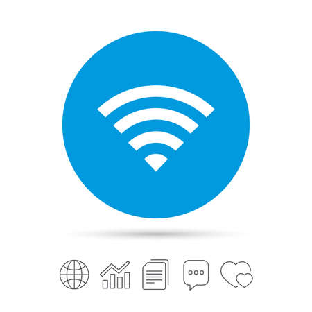 Wifi sign. Wi-fi symbol. Wireless Network icon. Wifi zone. Copy files, chat speech bubble and chart web icons. Vector Illustration