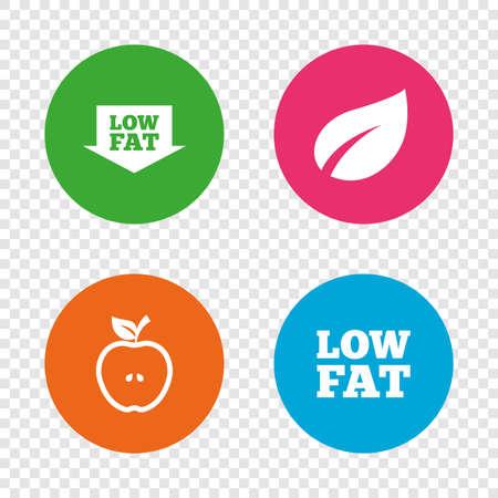 低脂肪矢印アイコン。ダイエットとベジタリアン食品標識。リンゴ葉のシンボル。透明の背景上の丸いボタン。ベクトル