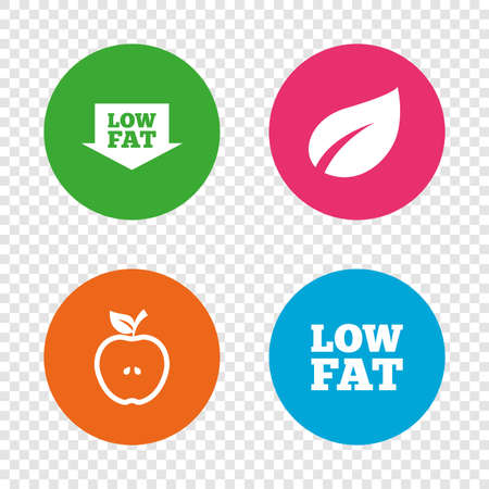 Low fat arrow icons. Diets and vegetarian food signs. Apple with leaf symbol. Round buttons on transparent background. Vector Illustration