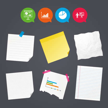 Business paper banners with notes. Diagram graph Pie chart icon. Presentation billboard symbol. Supply and demand. Man standing with pointer. Sticky colorful tape. Speech bubbles with icons. Vector