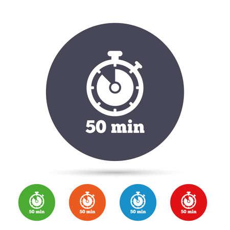 Timer teken pictogram. 50 minuten stopwatch-symbool. Ronde kleurrijke knoppen met plat pictogrammen. Vector