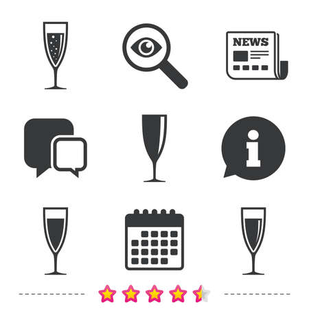 Champagne wine glasses icons. Alcohol drinks sign symbols. Sparkling wine with bubbles. Newspaper, information and calendar icons. Investigate magnifier, chat symbol. Vector