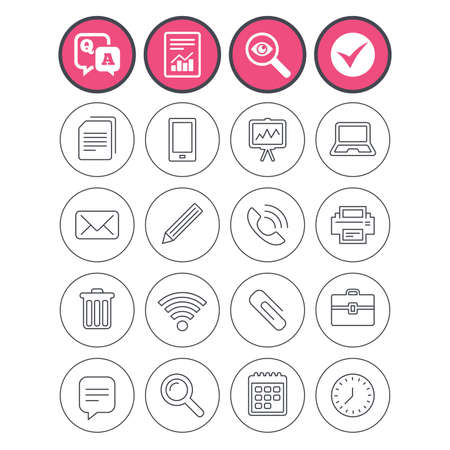 Question and answer, check tick and report signs. Office equipment icons. Computer, printer and smartphone. Wi-fi, chat speech bubble and copy documents. Vector Çizim