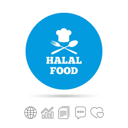 Halal food product sign icon. Chef hat with spoon and fork. Natural muslims food symbol. Copy files, chat speech bubble and chart web icons. Vector Illustration